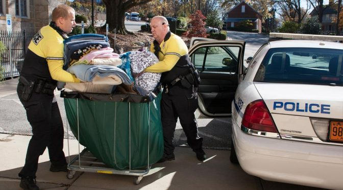 Blanket collection by the Winston-Salem Police Bike Patrol